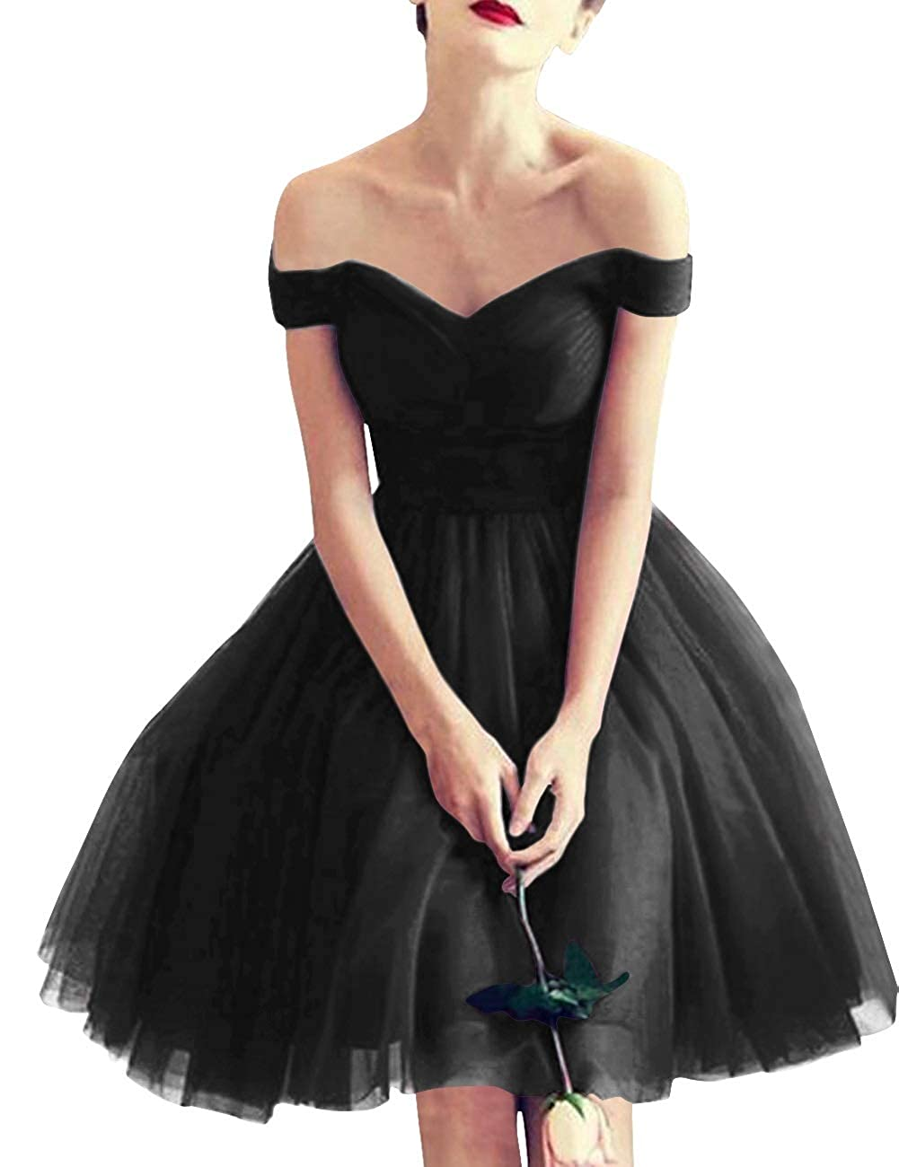 Black MorySong Women Off Shoulder LaceUp Tulle Short Bridesmaid Cocktail Homecoming Dress