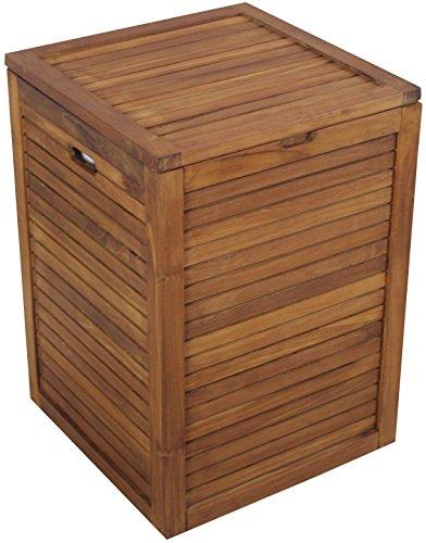 The Original Nila Large Size Teak Laundry or Storage Hamper by AquaTeak