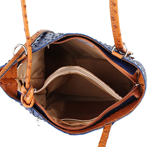 Leather Tan Cm Made in Royal Genuine Pattern in Blue Bag Shoulder Woman Chicca 28x30x9 Borse Italy Ostrich H1YaY