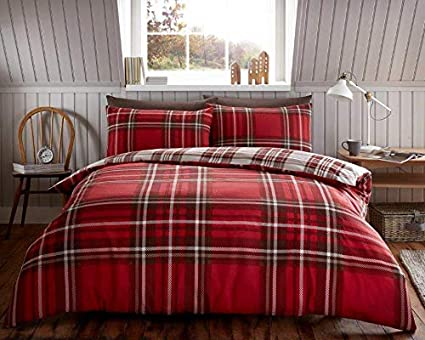 Tartan Check Flannel 100/% Brushed Cotton Duvet Quilt Cover Bedding Sets All Size