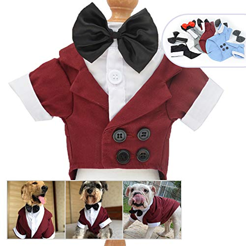 Lovelonglong Pet Costume Dog Suit Formal Tuxedo with Black Bow Tie for Large Medium Small Dogs Cat Wedding Clothes Reddish Brown L-L -