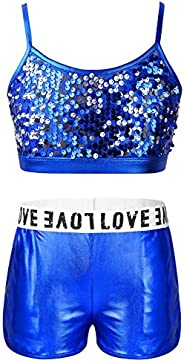 JEATHA Kids Girls Sparkly Sequins Ballet Sportswear Sleeveless Bra Crop Top Camisole with Shorts Gym Performan
