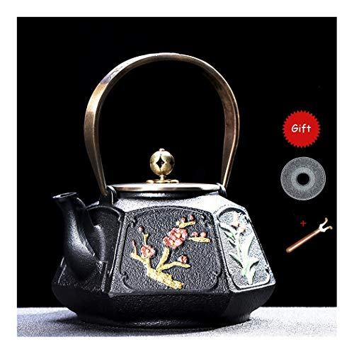 - ZXG-TEAPOT Chinese Style Cast Iron Teapot, Come with Copper Lid Trivet, Large Capacity, Emboss Design, Flowers Pattern