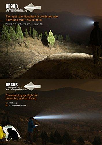 Fenix HP30R 1750 Lumen CREE LED Headlamp with 2 X Fenix 18650 Li-ion rechargeable batteries by Fenix (Image #3)
