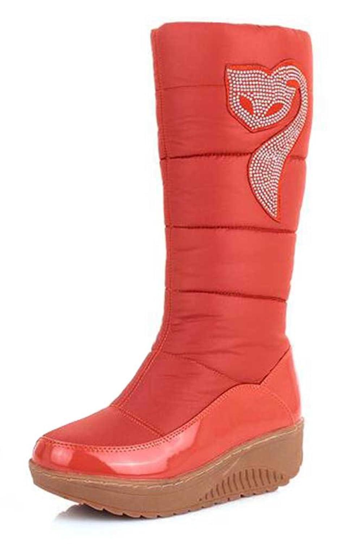 CHFSO Women's Trendy Waterproof Rhinestone Faux Fur Lined Mid Calf Mid Wedge Heel Platform Warm Winter Snow Boots