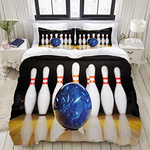 VAMIX Duvet Cover Set, Bowling Party Blue Ball on Lane Print, Decorative 3 Piece Bedding Set with 2 Pillow Shams, Twin Size