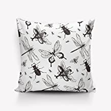 Butterfly Silhouette with Dragonflies Flying Garden Cushion Cover Pillowcase Cushion Case for Sofa,Bed,Chair,Bedding 26x26inch,one side