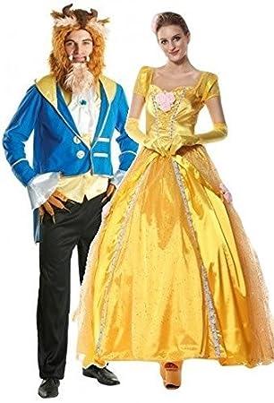 Mens and Ladies Couples Disney Beast u0026 Golden Princess Halloween Book Day Week Fancy Dress Costumes  sc 1 st  Amazon UK & Mens and Ladies Couples Disney Beast u0026 Golden Princess Halloween ...