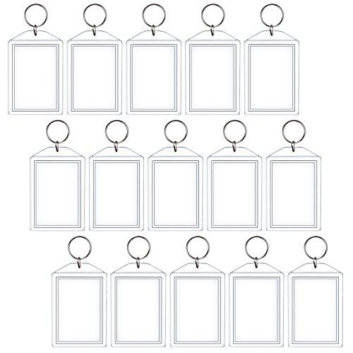 Sumind 15 Pack Acrylic Photo Snap Photo Key Chains, 2 x 2.85 Inches
