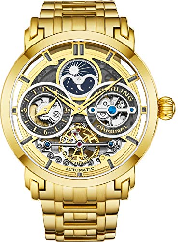 Stührling Original Mens Watch Stainless Steel Automatic, Silver Skeleton Dial, Dual Time, AM/PM Sun Moon, Stainless Steel Bracelet, 371B Watches for Men Series (Gold)