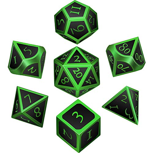 Hestya 7 Pieces Metal Dices Set DND Game Polyhedral Solid Metal D&D Dice Set with Storage Bag and Zinc Alloy with Enamel for Role Playing Game Dungeons and Dragons (Green Edge Black)