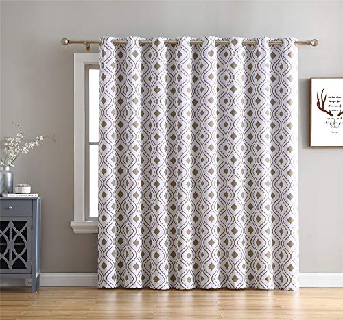 HLC.ME Ogee Trellis Print Thermal Grommet Blackout Patio Door Window Curtain for Sliding Glass Door - Platinum White & Taupe - 100