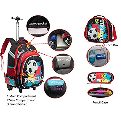 Meetbelify Rolling Backpack for Boys Kids Backpacks with Wheels for Boys School Bags with Lunch Box Wheeled Laptop Luggage | Kids' Backpacks
