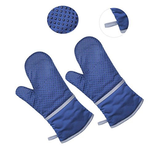Oven Mitts - 500°F Extreme Heat Resistant Safety Gloves  Cotton and Silicone Material  Thick but Light Weight for Oven Cooking, Baking, BBQ, Use as Oven Mitts Potholder,Blue,2 Pack by KK5