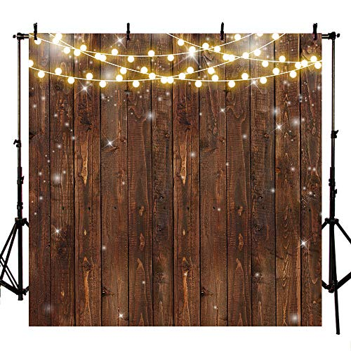 Mehofoto 8x8ft Retro Wood Backdrop Rustic Bright Lights Photography Background for Bridal Shower Wedding Birthday Christening Photoshoot Props for Parties]()