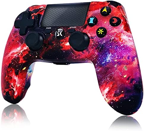 CHENGDAO Wireless Controller for PS4,High Performance Dual Shock Gamepad for Sony Playstation 4/Pro/Slim/PC with Audio Function, Mini LED Indicator, USB Cable (Galaxy)