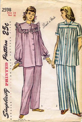 Simplicity 2598 Sewing Pattern Misses Pajamas Size 14 Bust 32 -