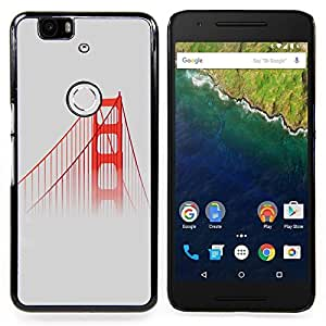 "Qstar Arte & diseño plástico duro Fundas Cover Cubre Hard Case Cover para Huawei Google Nexus 6P (San Francisco Puente Rojo Usa Mist Naturaleza Niebla"")"