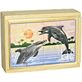 Melissa & Doug Sea Life 4-in-1 Wooden Jigsaw Puzzles in a Storage Box