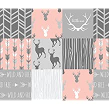 Deer Fabric - Wholecloth Quilt- Coral and Grey Deer A Patchwork Squares by sugarpinedesign - Deer Fabric with Spoonflower - Printed on Basic Cotton Ultra Fabric by the Yard