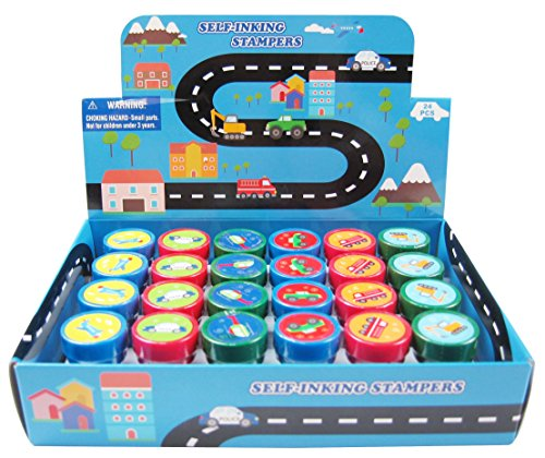 TINYMILLS 24 Pcs Transportation Vehicles & Construction Stampers for Kids