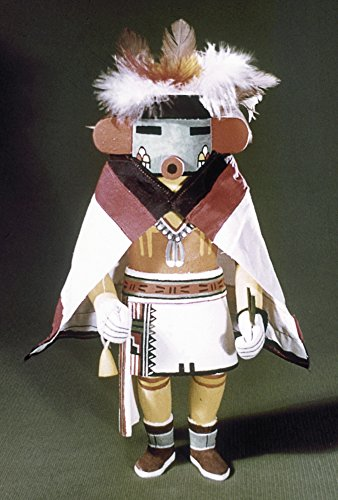 Spirit Kachina Doll - Hopi Kachina Doll Ntalavai (Morning Singer) A Hopi Spirit Or Kachina Dressed In A Cape And Headdress Carved Wooden Doll From Arizona Poster Print by (18 x 24)