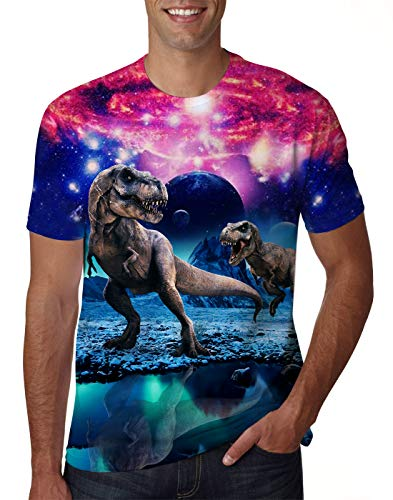 - Uideazone Men Women Printed Galaxy Dinosaur Short Sleeve T-shirt Cool Graphic Tee Shirt Dinosaur Medium