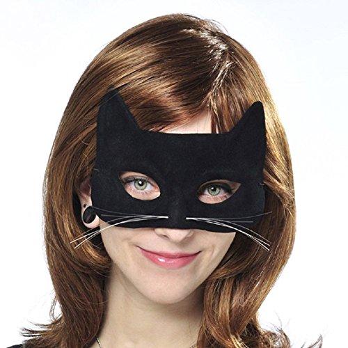 Black Velveteen Fabric Cat Mask -