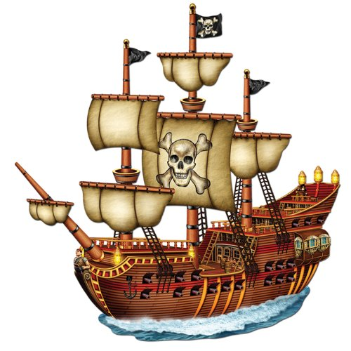 Jointed Pirate Ship Party Accessory (1 count) (1/Pkg) (Ship Cut Out)