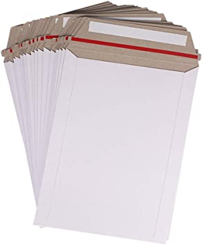 50 pcs 6 X 8 White Cardboard Mailers Self Seal Adhesive Flap Photo /& Document