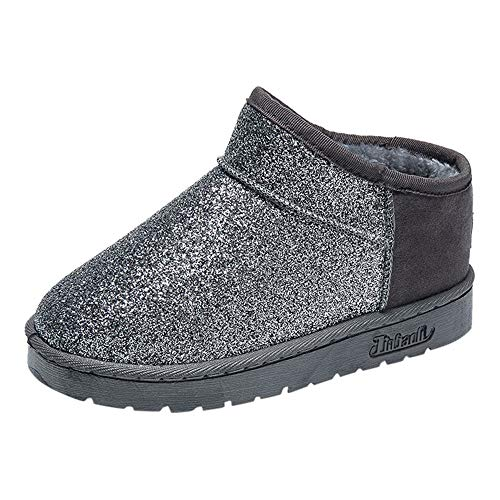 (Shoes,AIMTOPPY Women's Round Head Sequins Plus Velvet Warm Short Tube Flat Boots Snow Boots)
