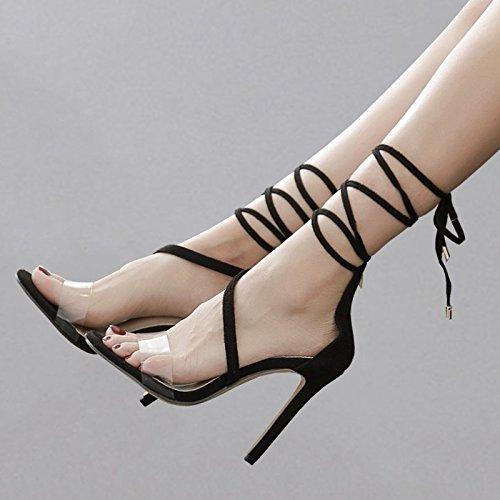 YMFIE Verano Sexy Vendaje Transparente Dedos High Heels Sandalias señoras Partido Temperamento Moda Tacones,38 UE 37 EU