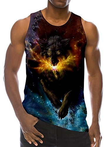 ns Galaxy Wolf Printed Jersey Tank Tops Graphic Sleeveless T-Shirt Crew Neck Workout Tees M ()