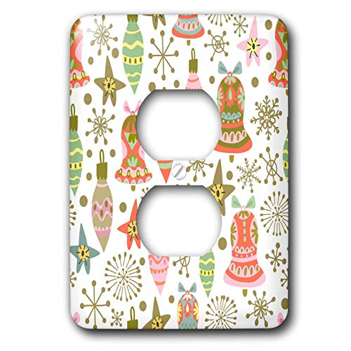 3dRose Anne Marie Baugh - Christmas - Cute Fiesta Christmas Ornaments Pattern - Light Switch Covers - 2 plug outlet cover (lsp_289300_6)