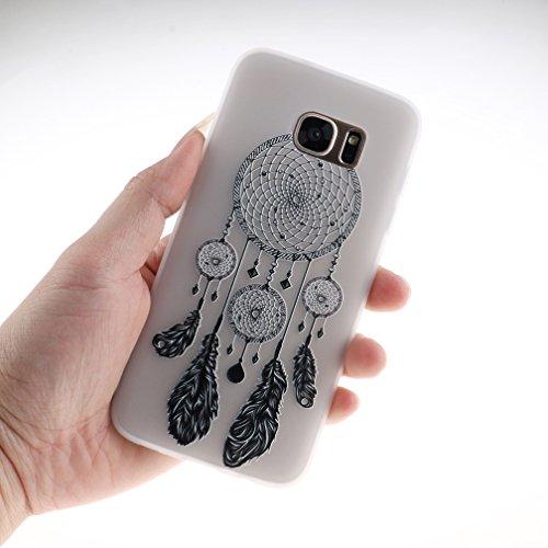 Funda Samsung Galaxy S7 EDGE,XiaoXiMi Carcasa de Silicona TPU Suave y Esmerilada Funda Ligero Delgado Carcasa Anti Choque Durable Caja de Diseño Creativo - Flores de Datura Campanas de Viento
