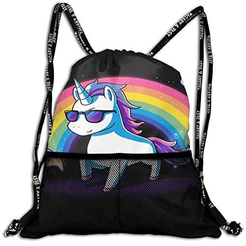 Men & Women Premium Polyester Drawstring Sack Rainbow Unicorn Pizza Rucksack Theft Proof Lightweight For Travel Soccer Baseball Bag Large For Camping, Yoga - Bean Bag Chair Volleyball
