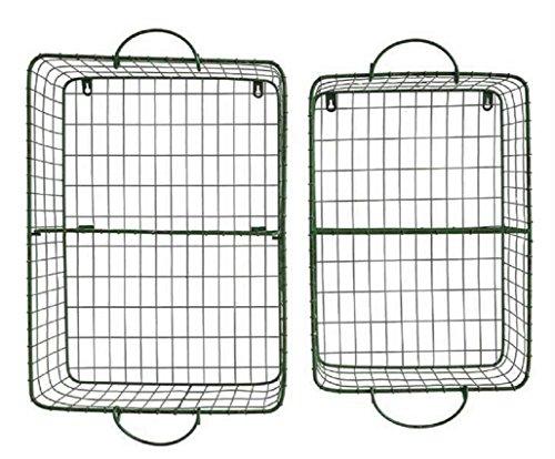 Set of 2 Green Wire General Store Cubbie Shelf Storage Baskets
