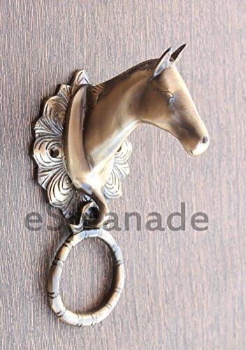 eSplanade Horse Rabbit Reindeer Elephant Brass Door Knockers | Door Decor Accessories | Brass Gate Knockers (Brass Horse Door Knocker)