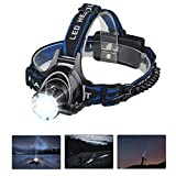 Mifine Waterproof LED Headlamp with Zoomable 3 modes 1000 Lumens light, hands-free headlight