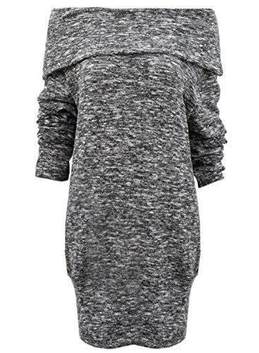 Achicgirl Mujer Suéter de Punto Fuera de Hombro Cuello Tortuga de Brezo, Khaki S negro
