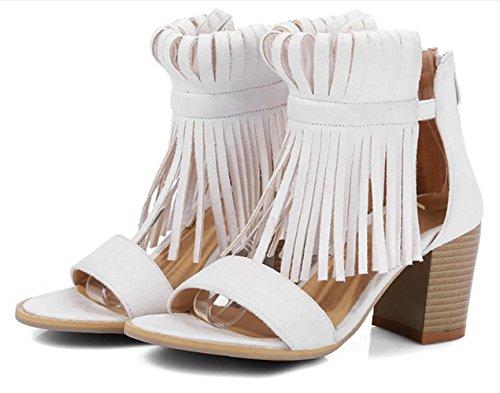 YCMDM Womens artificiale dell'unità di elaborazione High Heel traspirante Roma Retro sandali della bocca dei pesci dei sandali di sera del partito da sposa , beige , 35