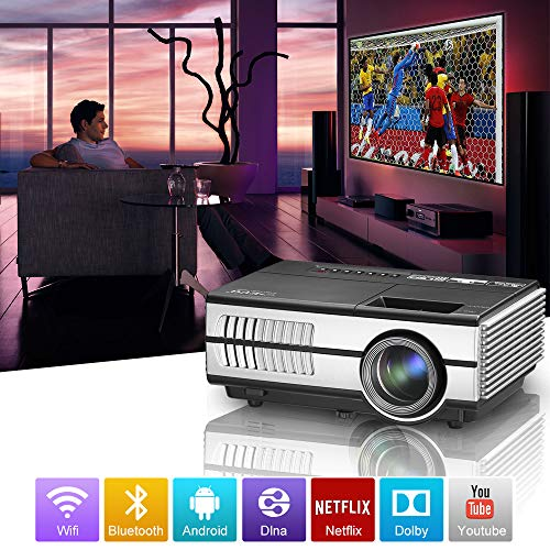 Mini Portable Bluetooth WiFi LCD Projector with HDMI USB VGA Audio Out Support 1080P HD 2800 Lumen Android Wireless Home  Theater Projectors LED 50,000hrs for TV Stick Xbox Smartphone DVD PC Laptop