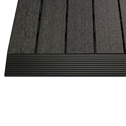 NewTechWood US-QD-SF-ZX-CH 1/6 x 1 ft. Quick Composite Deck Tile Straight Trim in Hawaiian Charcoal (4-Pieces/Box)
