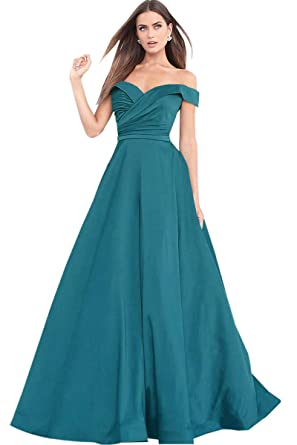 dc55254cce0 A Line Off The Shoulder Drapped Satin Evening Party Dress Long Prom Dresses  for Girls Aqua