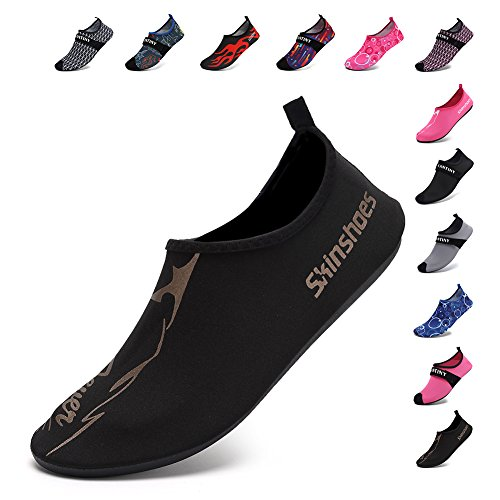 CIOR Men Women and Kids Quick-Dry Water Shoes darkweight Aqua Socks For Beach Pool Surf Yoga Exercise,S0602,Black,L