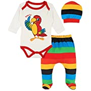 Lilax Baby Girl Fun Unique Soft Cotton Bodysuit, Cap, and Pant Layette 3 Piece Gift Set 3M Parrot