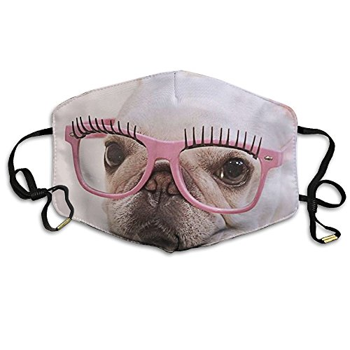 Girls Face Mask For Outdoor French Bulldog Pink Glasses