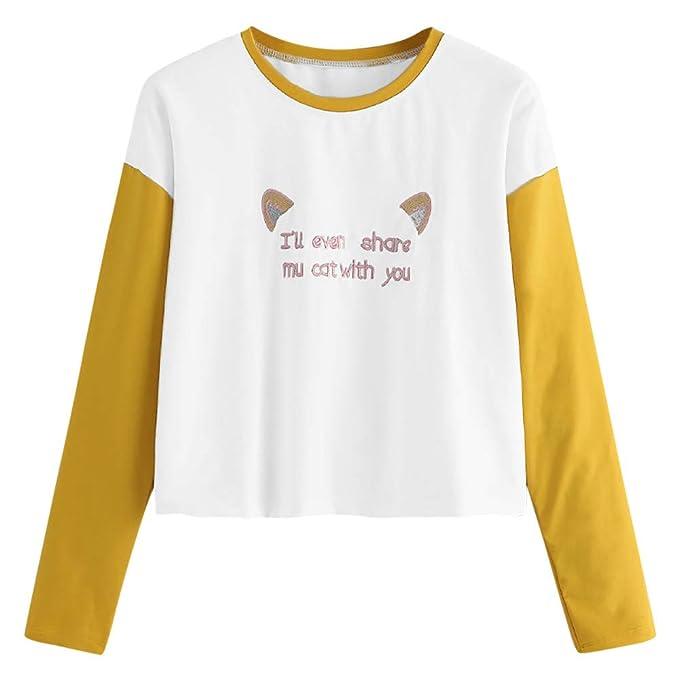 Overdose 2018 Mujeres De La Moda Camisa De Manga Larga Carta De ImpresióN De Gato Tops O Cuello Lindo Sudadera Blusa Adolescente Camiseta: Amazon.es: Ropa y ...