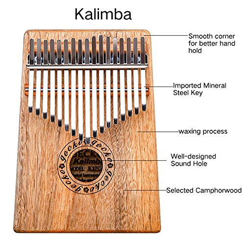 MG.QING Kalimba 17 Key Camphor Wood B-Tone Electronic Thumb Piano Mbira Kalimba Musical Instrument,A by MG.QING (Image #3)