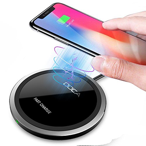 Fast Wireless Charger, DOCA 10W Fast Wireless Charging Pad, QI-Certified Wireless Charger for iPhone 8/8P/X, Samsung Galaxy Note 8 S8/S8 Plus S7 Edge and Other QI Devices(Black)